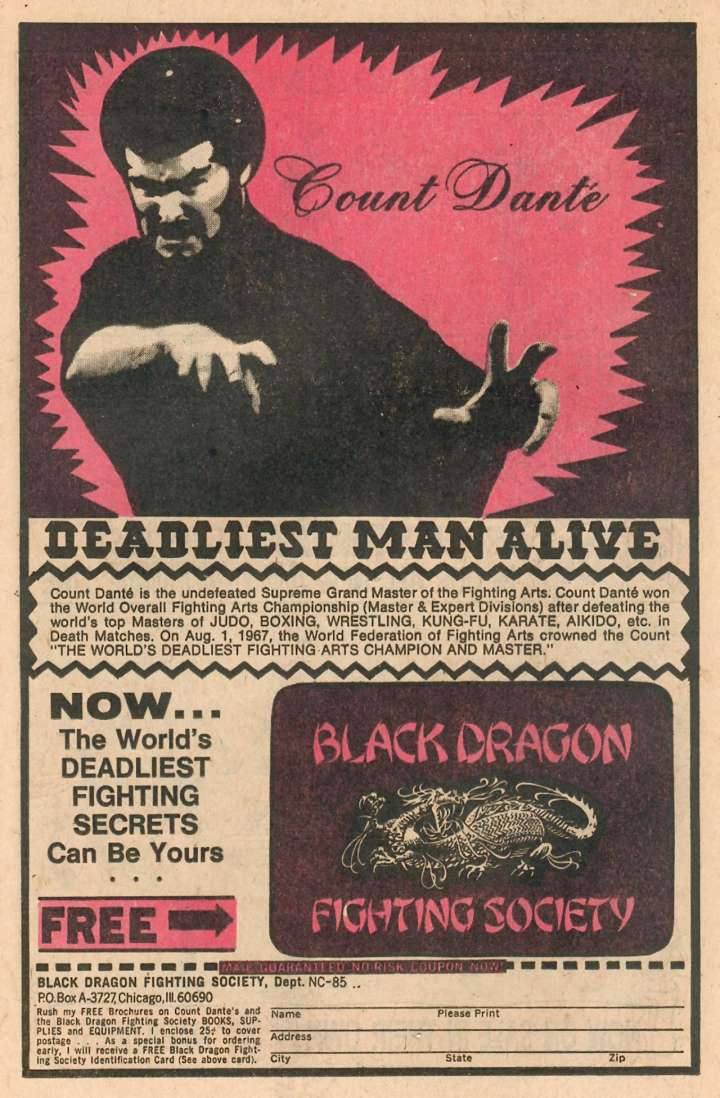 "Comic book ad for ""Deadliest Man Alive"" Count Dante"