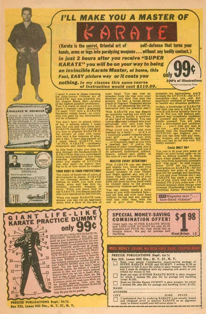Comic book ad for Super Karate
