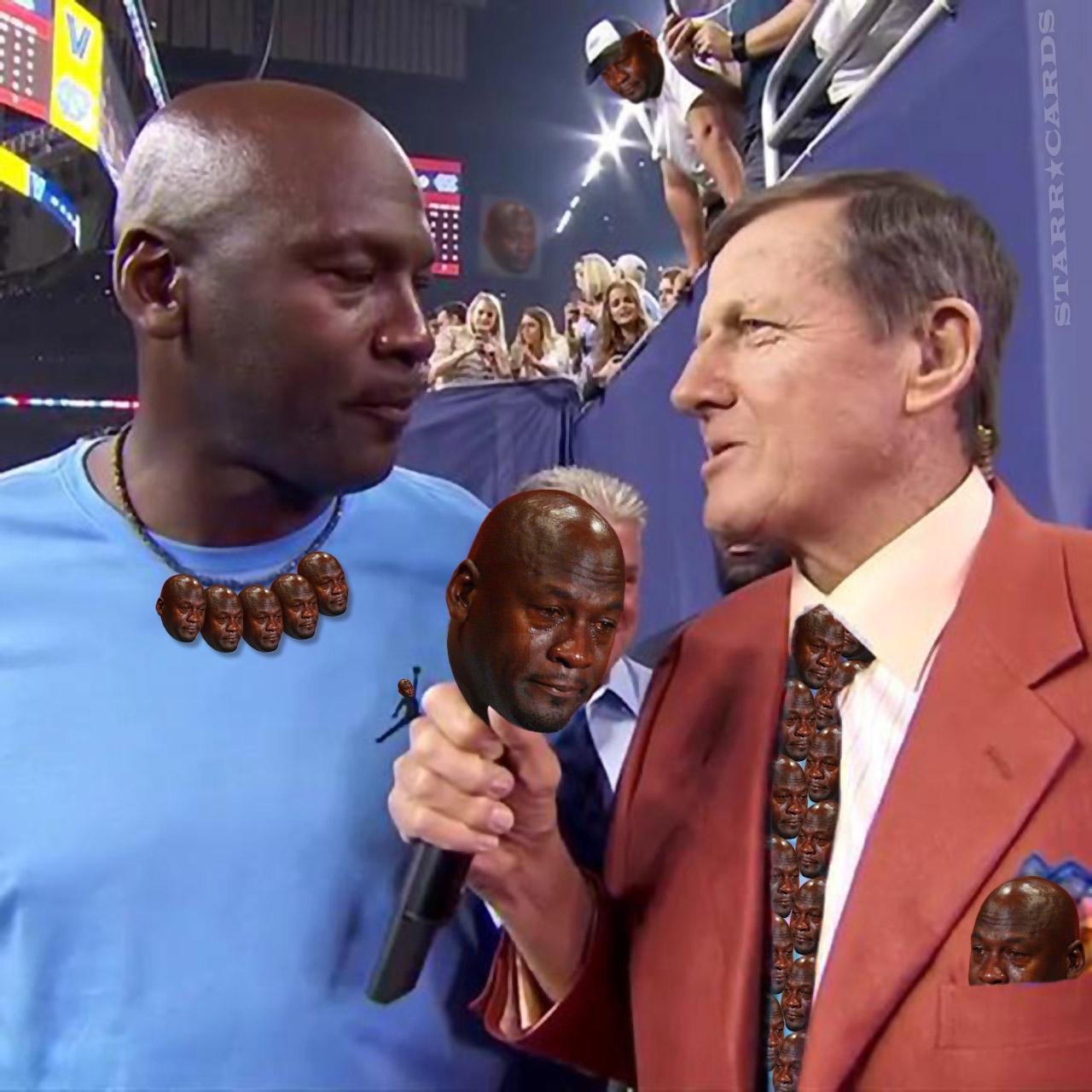 Crying Michael Jordan with Craig Sager at Villanova vs North Carolina championship game