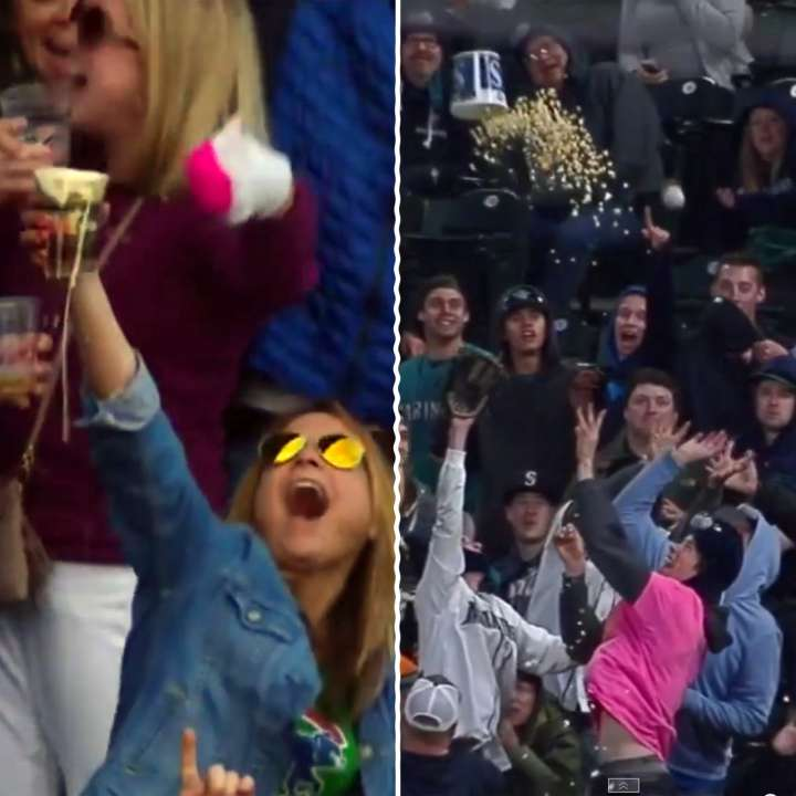 Cubs fan catches foul ball in beer, Mariners fan throws popcorn bucket
