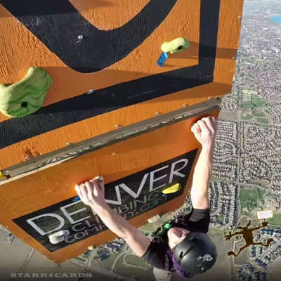 Daniel Krug, Hank Caylor, and Max Fanning climb the world's highest climbing wall