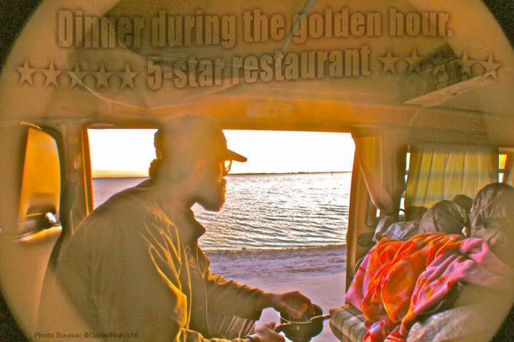 Daniel Norris enjoys dinner in his VW Van overlooking the ocean.