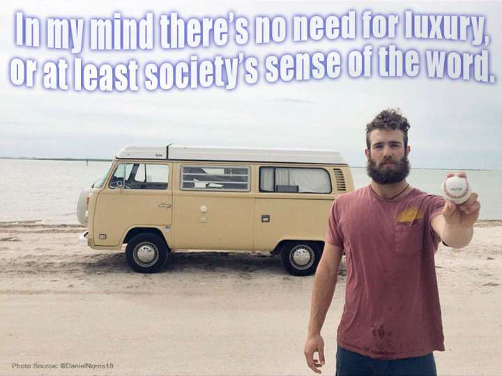 Daniel Norris enjoys the simple things in life with his VW Van.