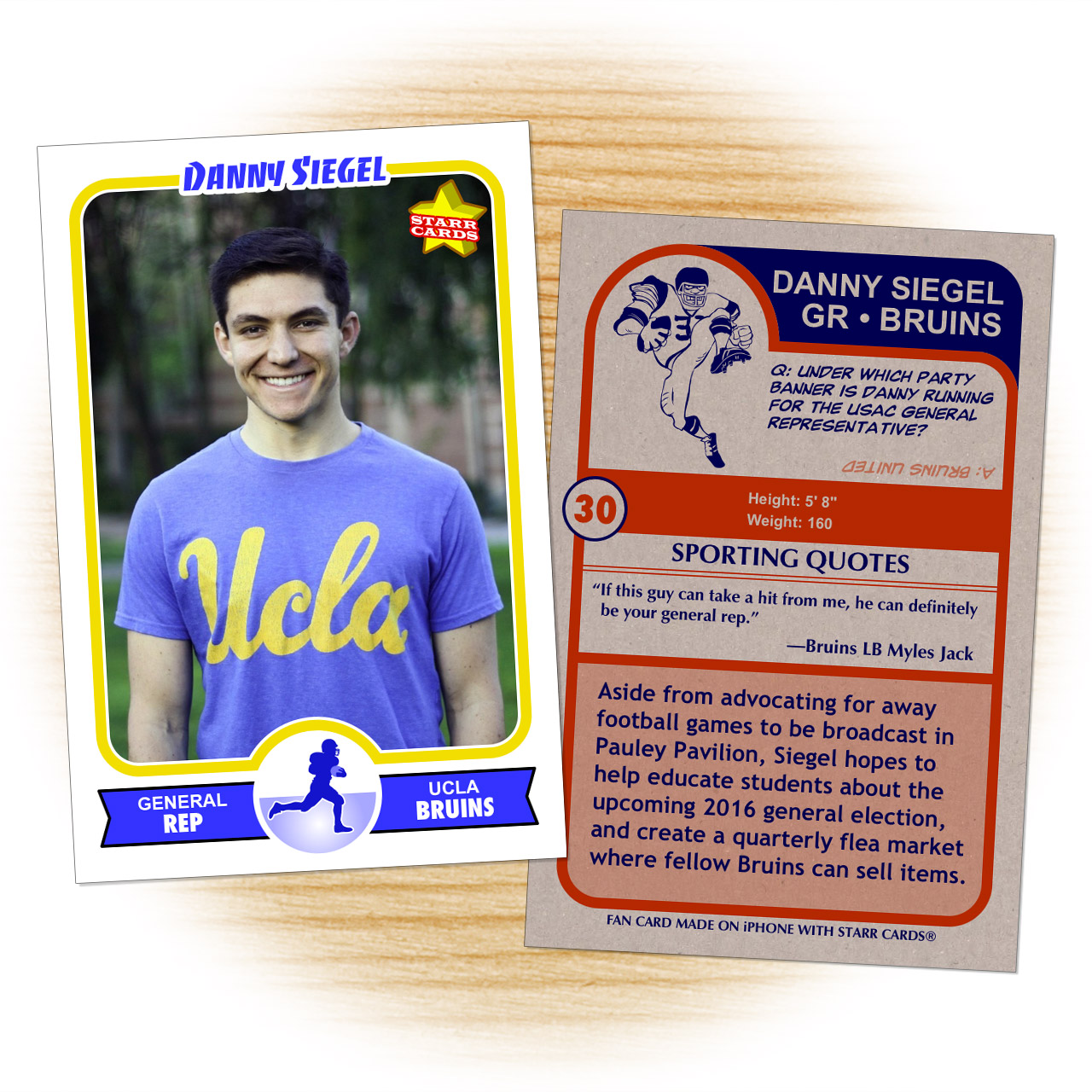 Danny Siegel football card with Myles Jack endorsement
