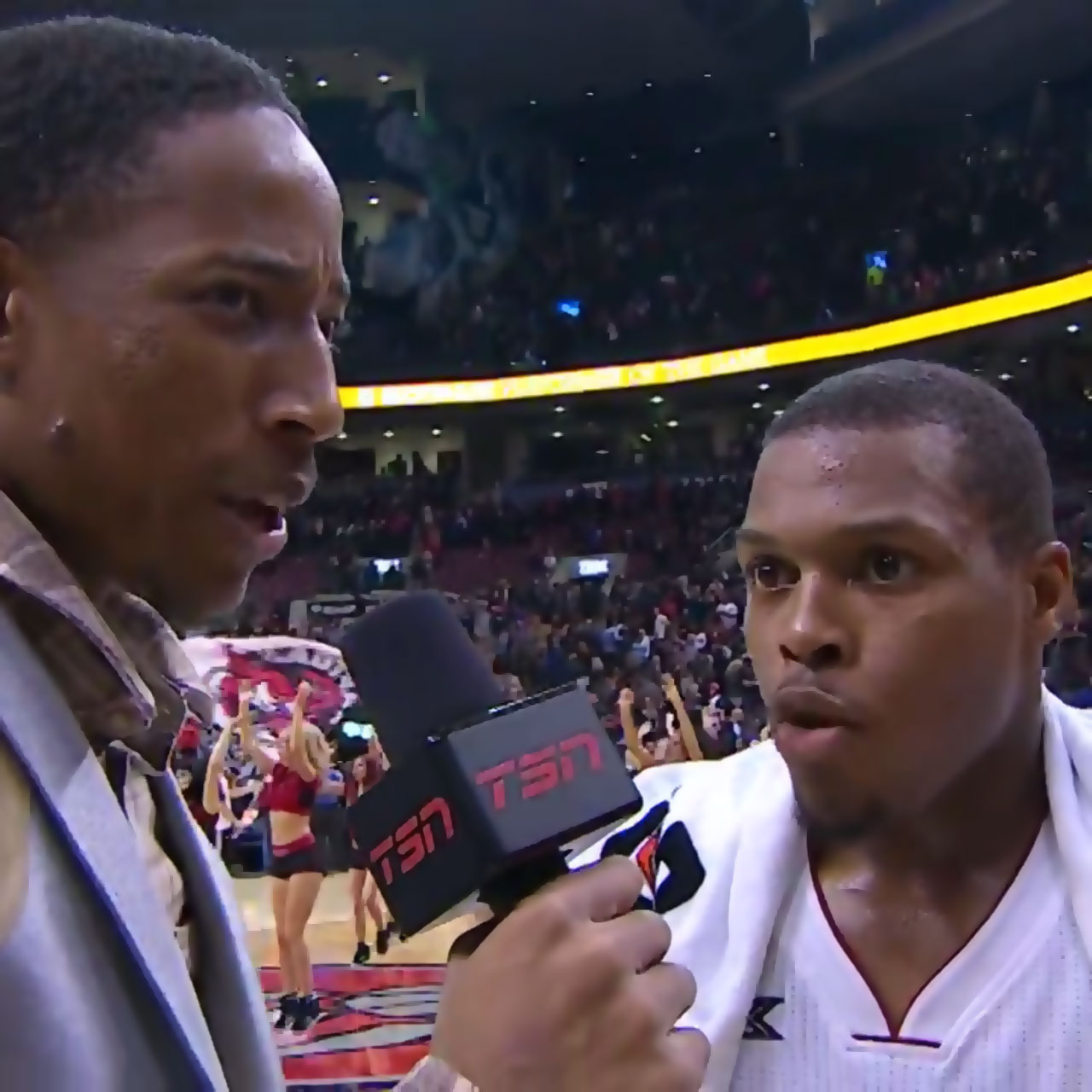 DeMar DeRozan conducts post-game interview with Kyle Lowry