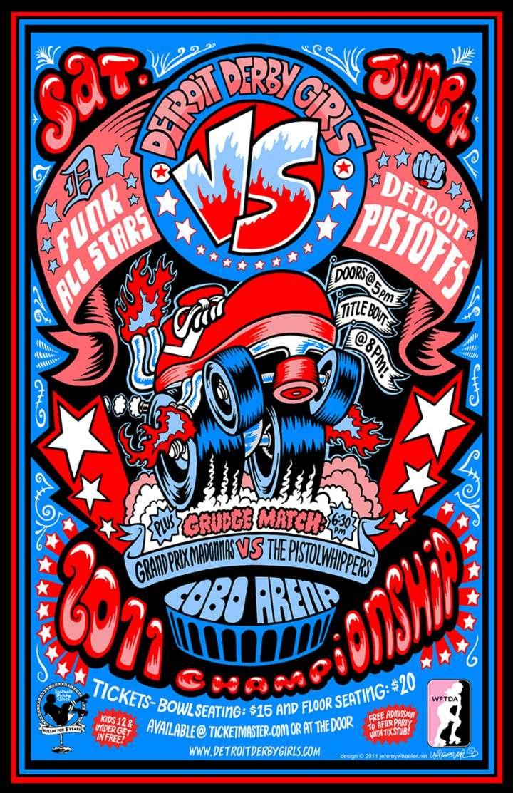Detroit Derby Girls poster by Jeremy Wheeler