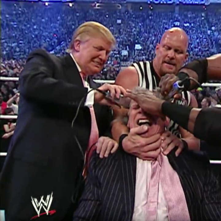 Donald Trump shaves Vince McMahon's head at WrestleMania 23 Battle of the Billionaires