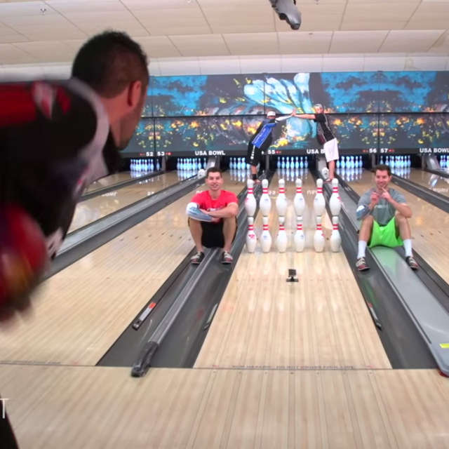 Dude Perfect bowling trick shots with Jason Belmonte: Great Wall