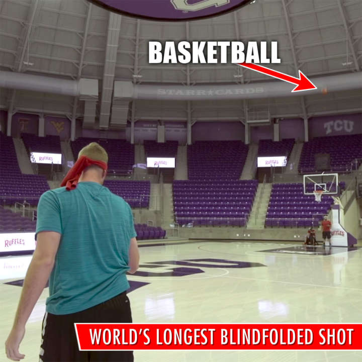Dude Perfect Guinness World Record: Longest blindfolded basketball shot