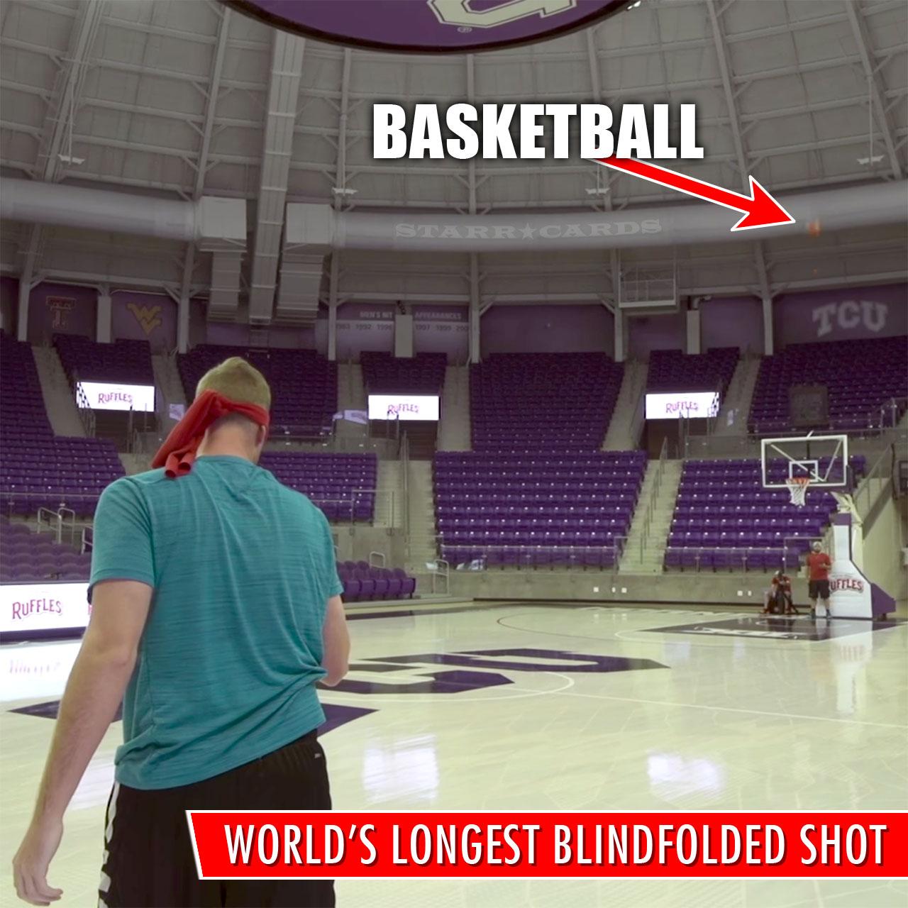 Dude Perfect Guinness World Record: Longest blindfolded basketball shot