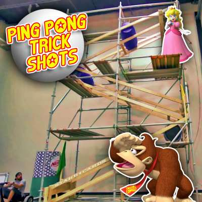 Dude Perfect's 'Ping Pong Trick Shots' with Donkey Kong and Princess Peach