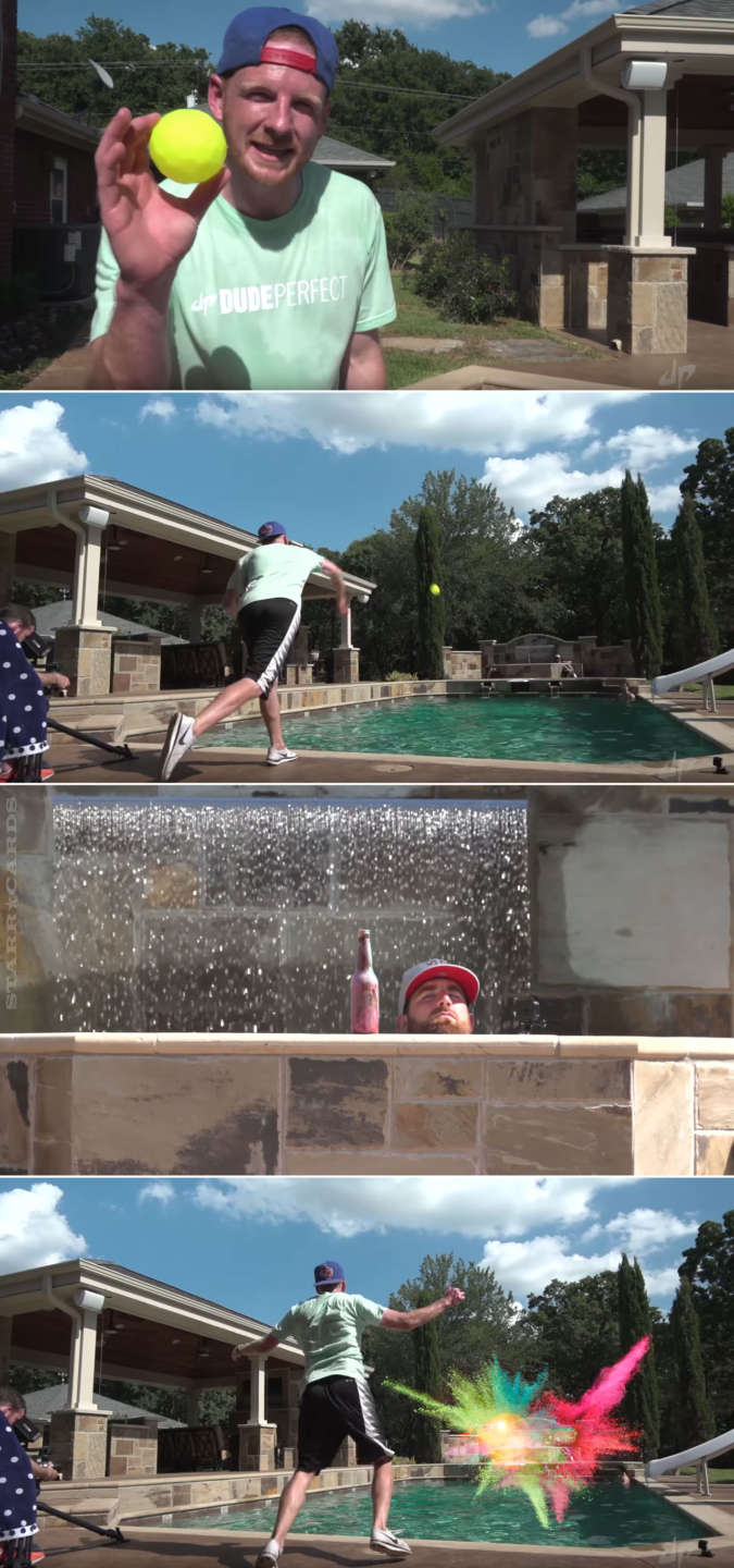 """Dude Perfect's """"Water Skippin' Blitzball Colorsplosion"""" trick shot"""