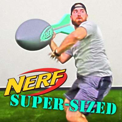 Dude Perfect's Tyler Toney chucks a super-size Nerf vortex football