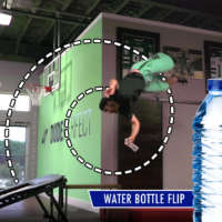 Dude Perfect's Tyler Toney performs water bottle flip trick