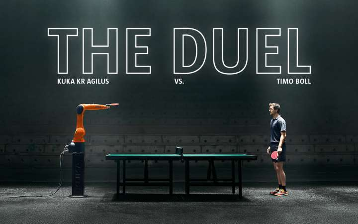 Table tennis duel between KUKA Robot and Timo Boll