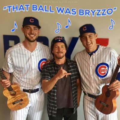 Eddie Vedder joins Kris Bryant and Anthony Rizzo at Bryzzo Souvenir Company