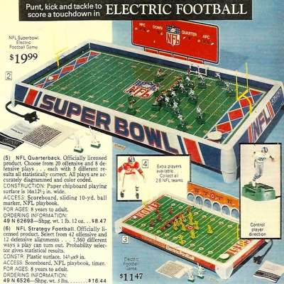 Electric football ad from Sears catalog