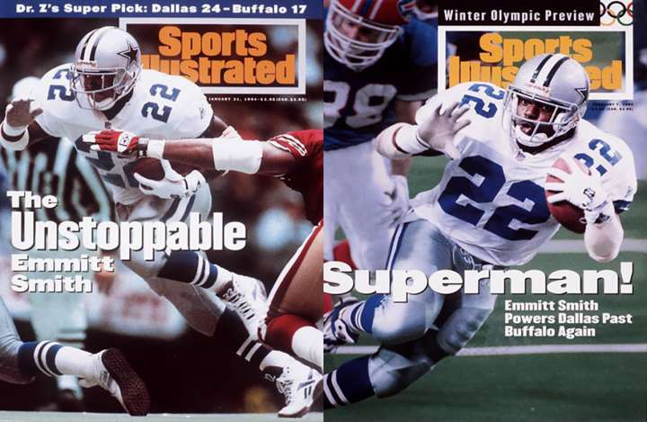 Emmitt Smith Sports Illustrated covers before and after Super Bowl XXVIII