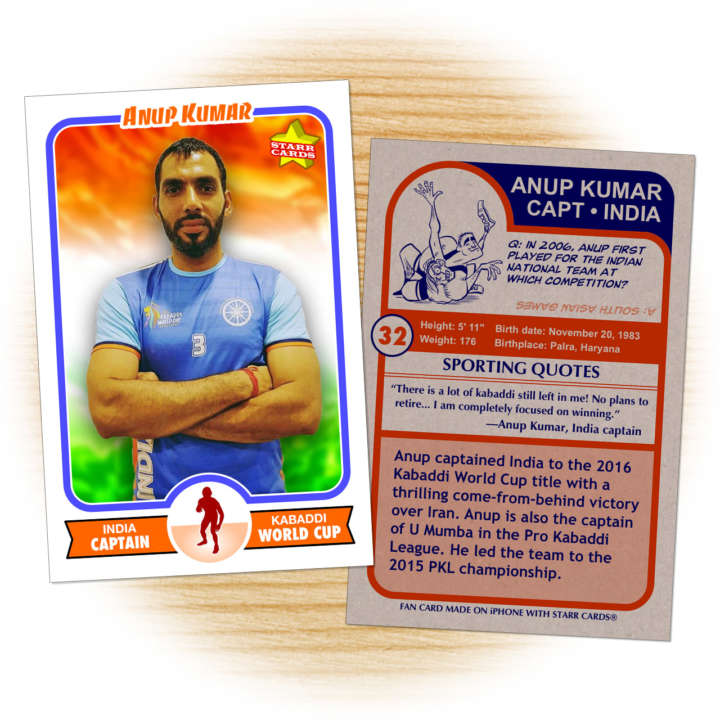 Fan card of Anup Kumar, captain of India's national kabaddi team