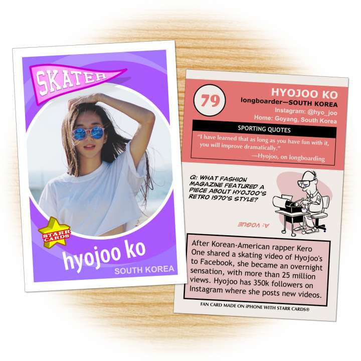 Fan card of Korean longboard dancer Hyojoo Ko