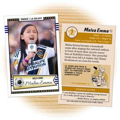 Fan card of LA Galaxy national anthem singer Malea Emma