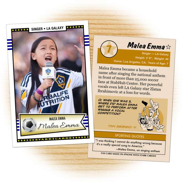 Fan card of LA Galaxy national anthem singer Malea Emma