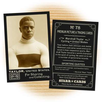 "Fan card of Marshall ""Major"" Taylor, United States, Cycling"