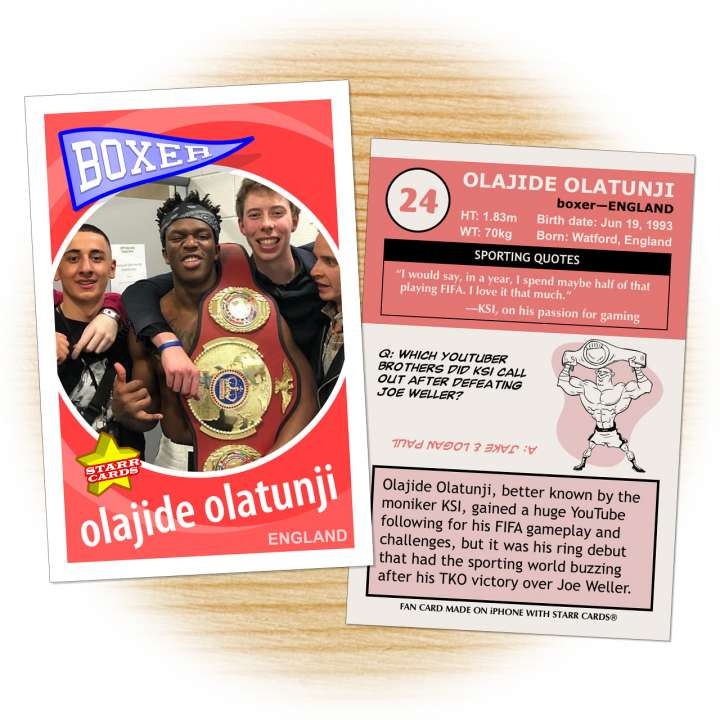 Fan card of Olajide Olatunji (aka KSI) created following his boxing debut
