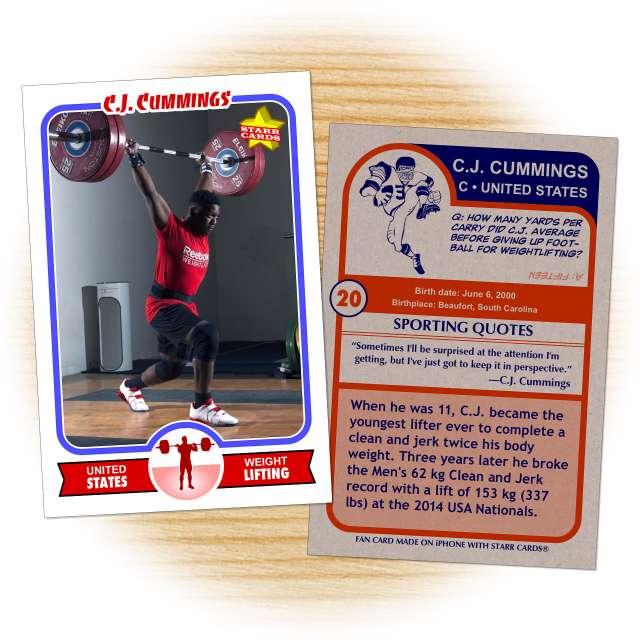 Fan card of United States weightlifter CJ Cummings