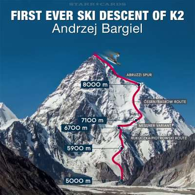 First ever ski descent of K2 made by Andrzej Bargiel