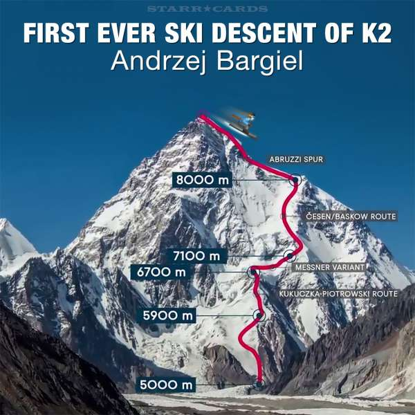 First ever ski descent of K2 made by Andrzej Bargiel