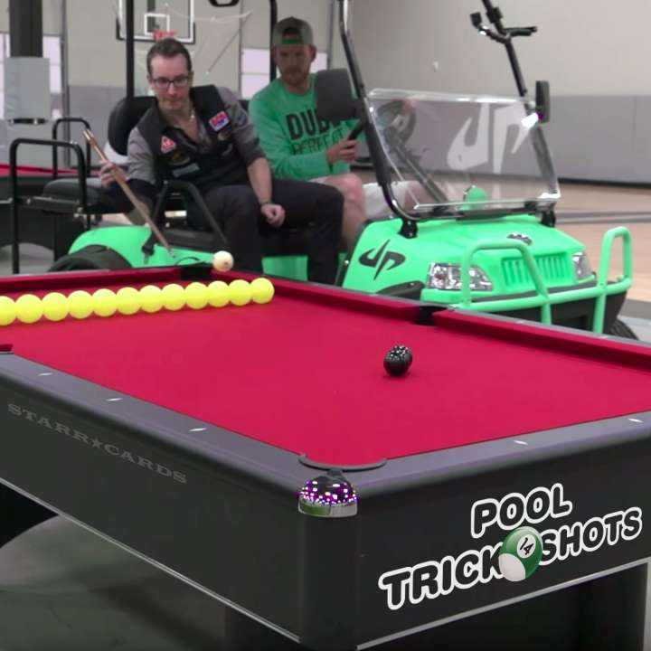 "Florian ""Venom"" Kohler partners with Dude Perfect for epic pool trick shots"