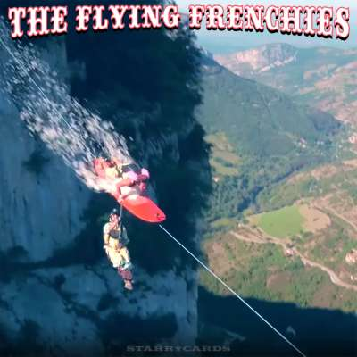 Flying Frenchies surf on a highline in the Vercors mountain range