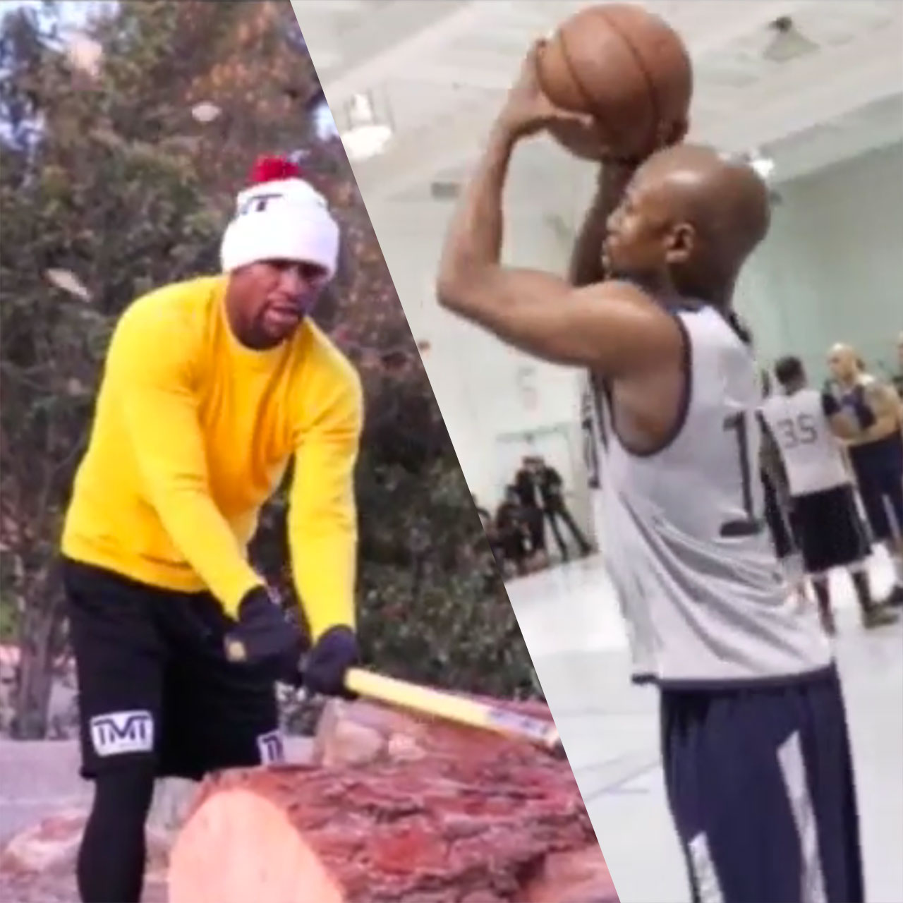 Flyod Mayweather training camp includes chopping wood and basketball