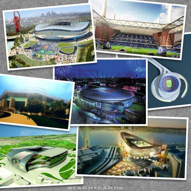 Football club designs for soccer stadiums that never got built