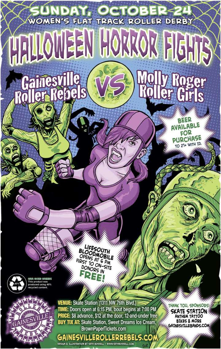 Gainesville Roller Rebels roller derby poster