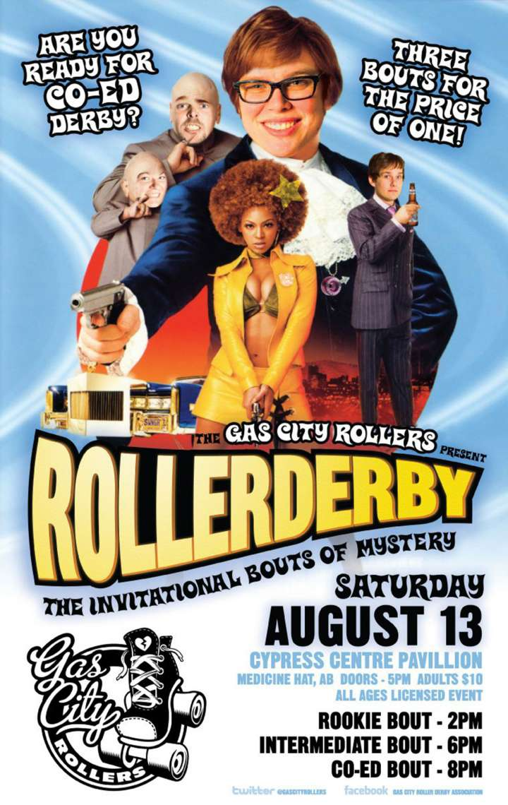 Gas City Rollers roller derby poster