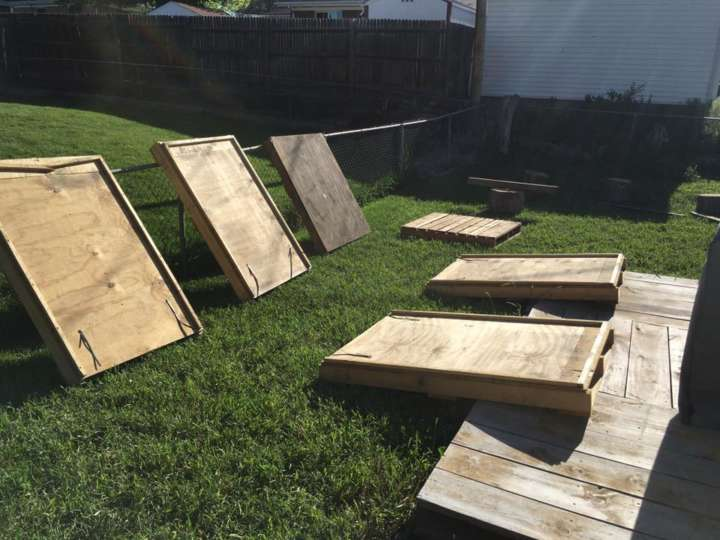 Gavin MacCall builds a Ninja Warrior obstacle course for his daughter: Quadruple steps