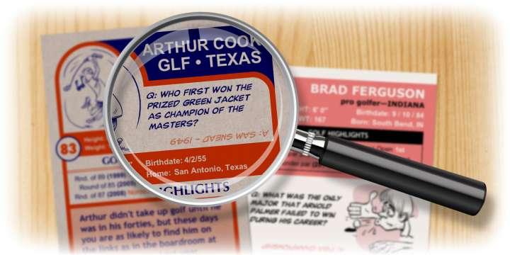 Enjoy the golf quiz questions on your custom golf cards.