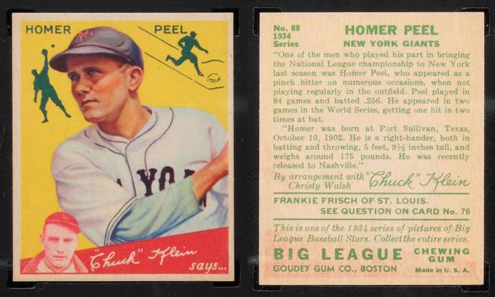 Goudey baseball card of New York Giants outfielder Homer Peel