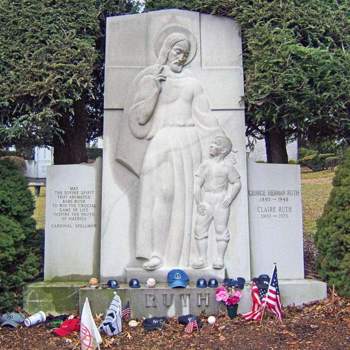 Grave sites of baseball's greatest players: Babe Ruth tombstone