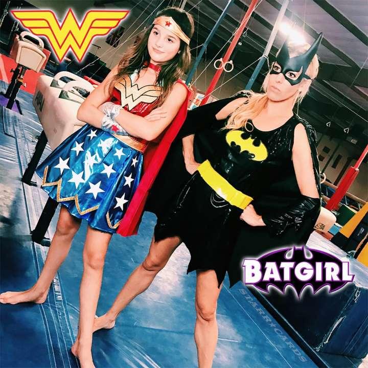 Gymnastics Challenge: Annie LeBlanc (Wonder Woman) vs Rebecca Zamolo (Batgirl)