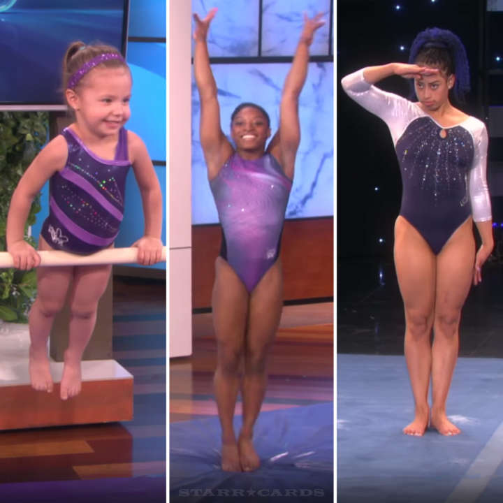 Gymnasts Emma Rester, Simone Biles, and Sophina DeJesus on the 'Ellen DeGeneres Show'