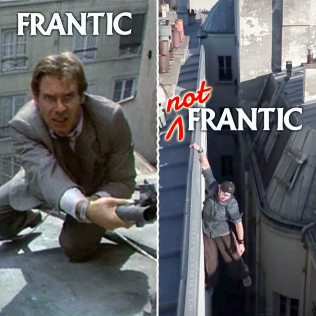 Harrison Ford is frantic, parkour artist is not