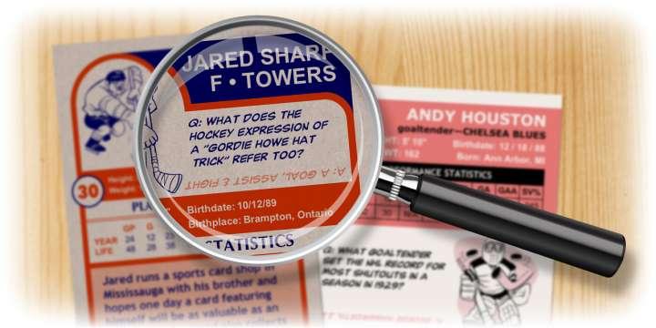 Enjoy the hockey quiz questions on your custom hockey cards.