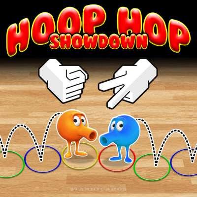 Hoop Hop Showdown combines Q*bert-like action with rock-paper-scissors