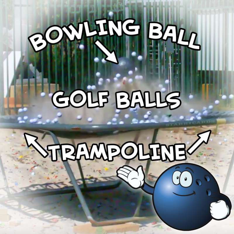 How Ridiculous: Bowling Ball vs Trampoline (and golf balls)