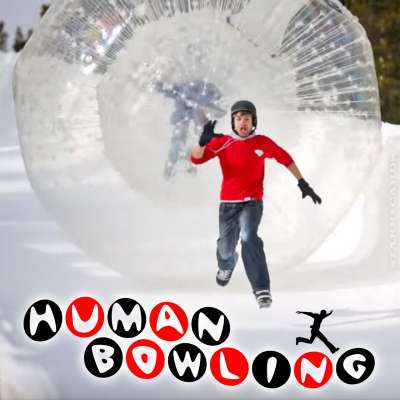 Human bowling at Mammoth Mountain, California