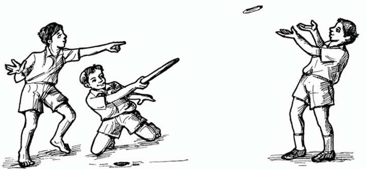Illustration of schoolboys playing gilli danda (tip-cat)