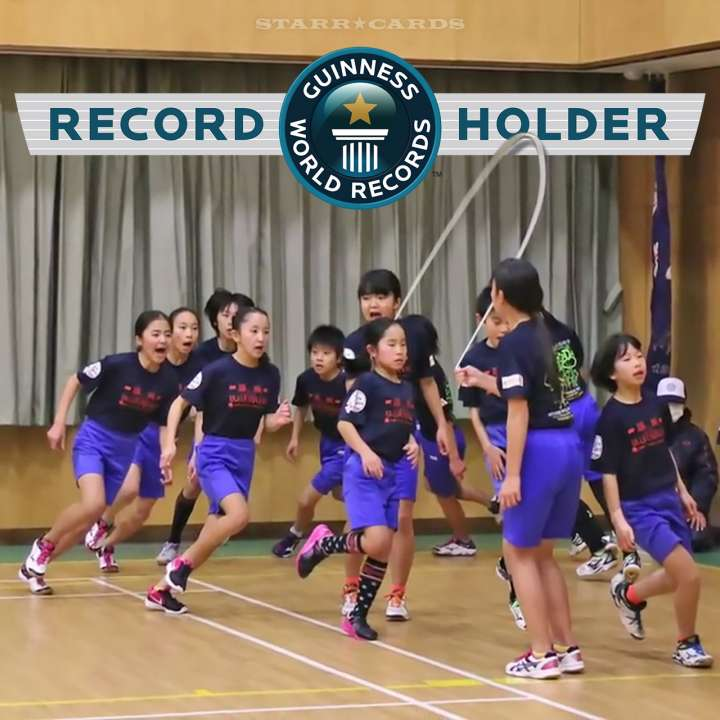 Japanese kids set Guinness World Record for the Most Skips Over a Single Rope in One Minute by a Team